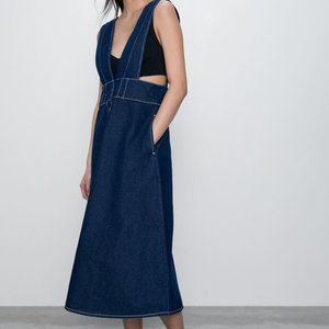 NWT ZARA pinafore dress denim + side pockets